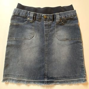Mimi Maternity Denim Jean Skirt Small Raw Hem